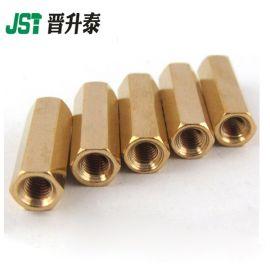 供应M3双通铜柱螺母 平头空心六角铜螺柱隔离柱锣丝 可来图定制