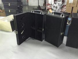 酒盒|双支黑色红酒盒|皮革箱包酒盒