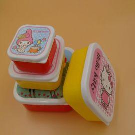 儿童饭盒四件套 PP塑料便当盒 广告促销礼品 图案定制