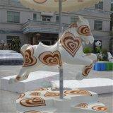 大型公园游乐场旋转木马雕塑摆件 玻璃钢雕塑马 儿童乐园卡通马