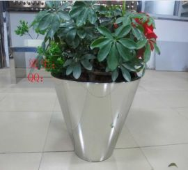 厂家直销不锈钢花盆 景观花盆落地花器 户外不锈钢锥形大花瓶