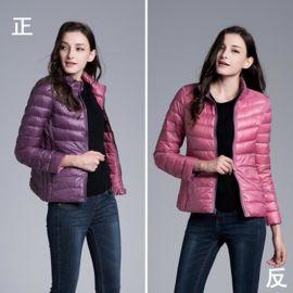 纯色秋冬轻薄两面穿羽绒服女士修身短款立领大码双面外套印制logo
