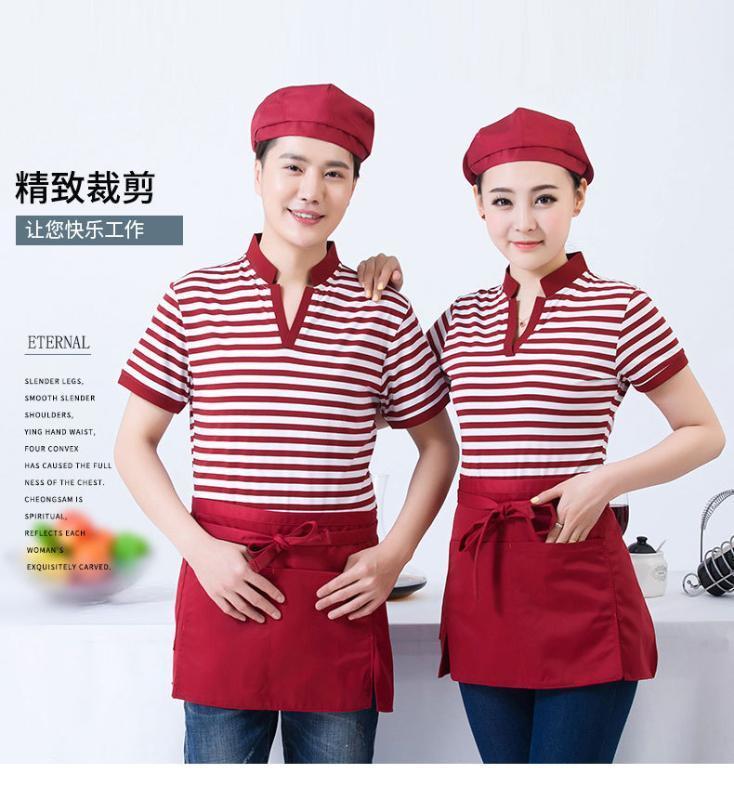 酒店服务员工作服短袖新款V领条纹T恤餐饮饭店奶茶烧烤制服夏季