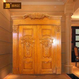 简约原木室内门房间卧室门 复合套装烤漆实木门双开雕花门定制 厂家直销