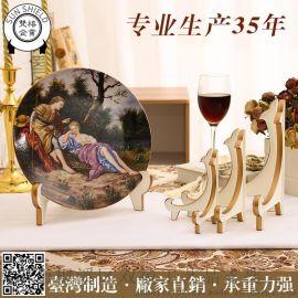 10寸歐式加厚盤架展示架工藝品紀念盤時鍾掛鍾陶瓷盤食具禮品禮盒相框