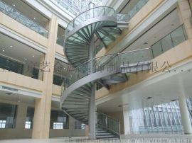京艺直线式旋转式光纤工程发光楼梯不锈钢实木定做楼梯