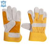 黄布牛二层皮革工作保护电焊手套,耐磨耐高温手套