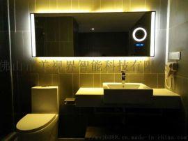 定制酒店浴室镜加放大镜时间温度功能镜防雾智能镜