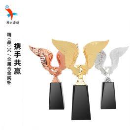携手共赢水晶奖杯,广州金属奖杯,提供刻字定做