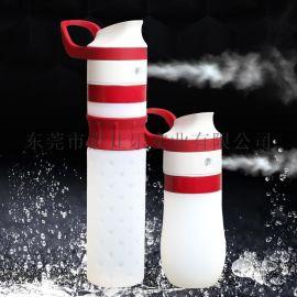 高档硅胶运动喷雾水壶 户外电动喷雾水杯 便携式水瓶