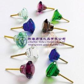 蘑菇型深蓝水晶拉手抽屉拉手/把手(014-49)