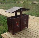 户外抗腐蚀钢木分类单筒垃圾桶