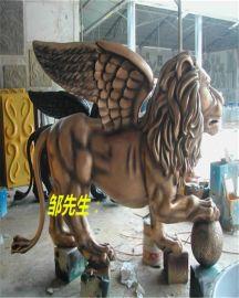 狮鹫雕塑_树脂狮鹫雕塑-玻璃钢狮子带翅膀狮鹫雕塑定制