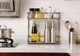 不鏽鋼方管兩層廚房調味瓶收納雜物架