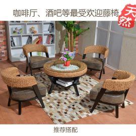 批发**畅销的水草藤编休闲椅 咖啡厅藤椅弯背椅 高质量仿皮座垫