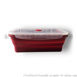 厂家现模 密封硅胶保鲜盒 便携折叠硅胶饭盒