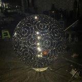 景观镜面不锈钢发光球雕塑、夜间效果光彩四射精美绝伦