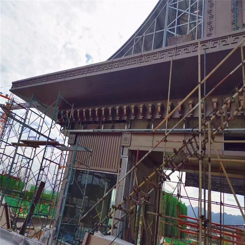 中式别墅门头造型铝斗拱 罗马式屋檐金属斗拱效果案例