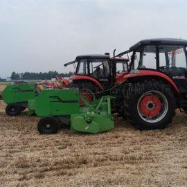 玉米秸秆收割粉碎打捆机,拖拉机带的秸秆打捆机