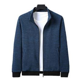 新款休闲时尚夹克男卫衣 加厚立领外套 修身青年外套