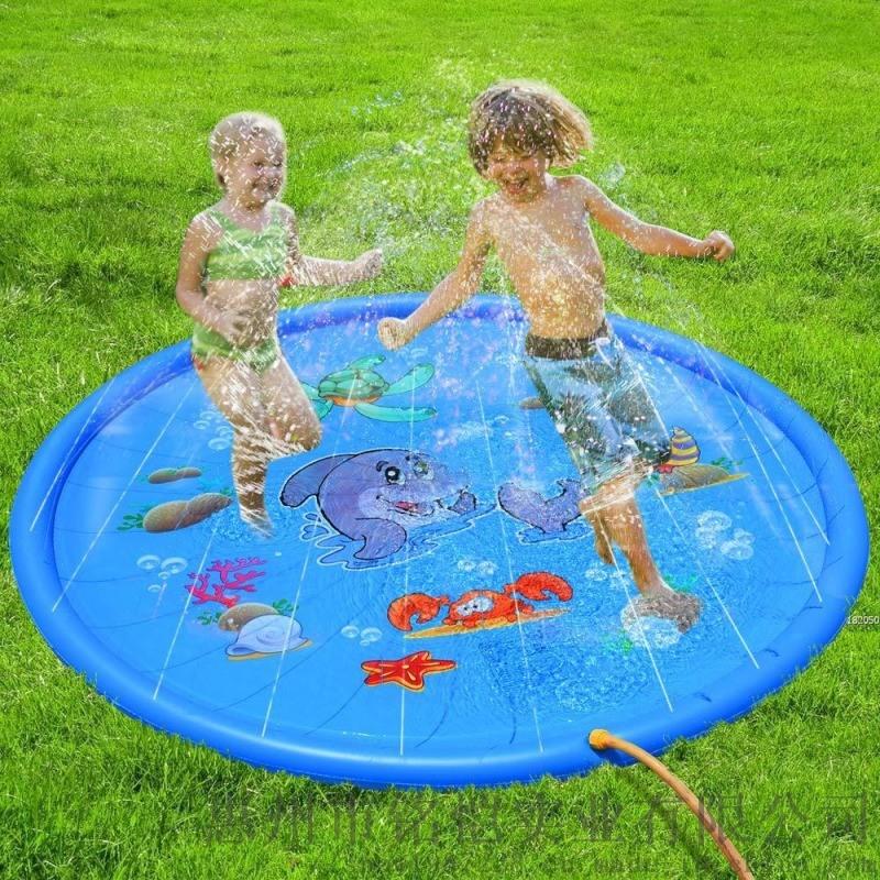 兒童戶外遊戲灑水墊噴霧池戲水池海豚170CM噴水墊