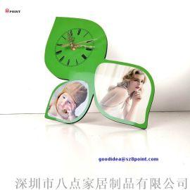 创意工艺钟木质热转印图案台钟MDF桌面闹钟