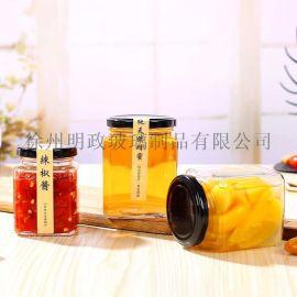 方形瓶蜂蜜瓶玻璃瓶酱菜瓶四方腐乳瓶果酱瓶罐头瓶