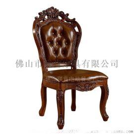 联肯家具实木雕花欧式客厅家用酒店软包豪华饭店椅子