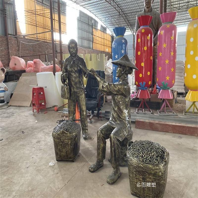玻璃钢农耕文化雕塑 稻田农作人物雕塑一键致电咨询