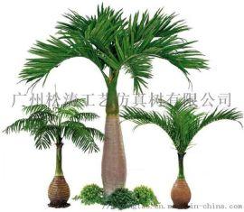 仿真酒瓶椰子树 人造沙滩景观树 玻璃钢椰子树定制