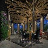 立柱造型木紋鋁方通吊頂鋁格柵天花