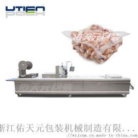 鸡肉全自动拉伸膜包装机,大包装食品热成型真空包装机