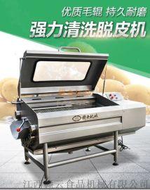 全自动强力清洗芋头土豆脱皮机 自动化毛刷去皮清洗机