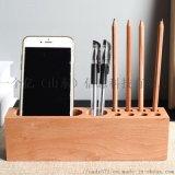 木質辦公桌面創意名片收納盒 櫃檯簽字筆名片收納盒