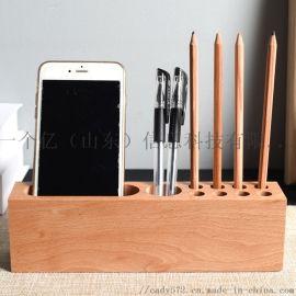 木质办公桌面创意名片收纳盒 柜台签字笔名片收纳盒