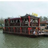 大型景区观光旅游船,仿古画舫船厂家定制,公园餐饮船