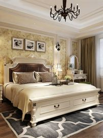 美式田园床双人床主卧实木床1.8米高箱储物床