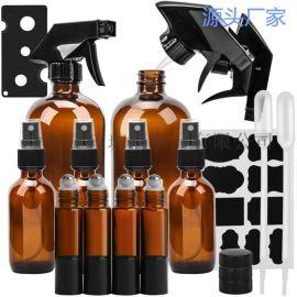 琥珀色玻璃噴霧瓶精油香薰10ml滾筒瓶滾珠瓶廠家