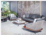 欧凯森 藤编麻绳铝质院子样板房售楼部休闲户外沙发椅