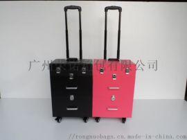 双开铝制化妆箱拉杆多层美容纹绣美甲工具收纳箱