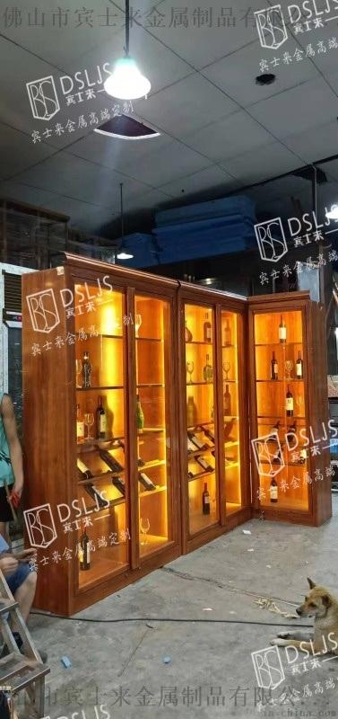 木紋色不鏽鋼酒櫃燈帶紅酒不鏽鋼酒櫃落地平開式酒櫃