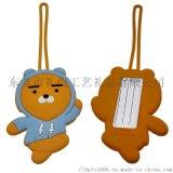 出口韩国硅胶行李牌定做 卡通动物不规则造型行李吊牌