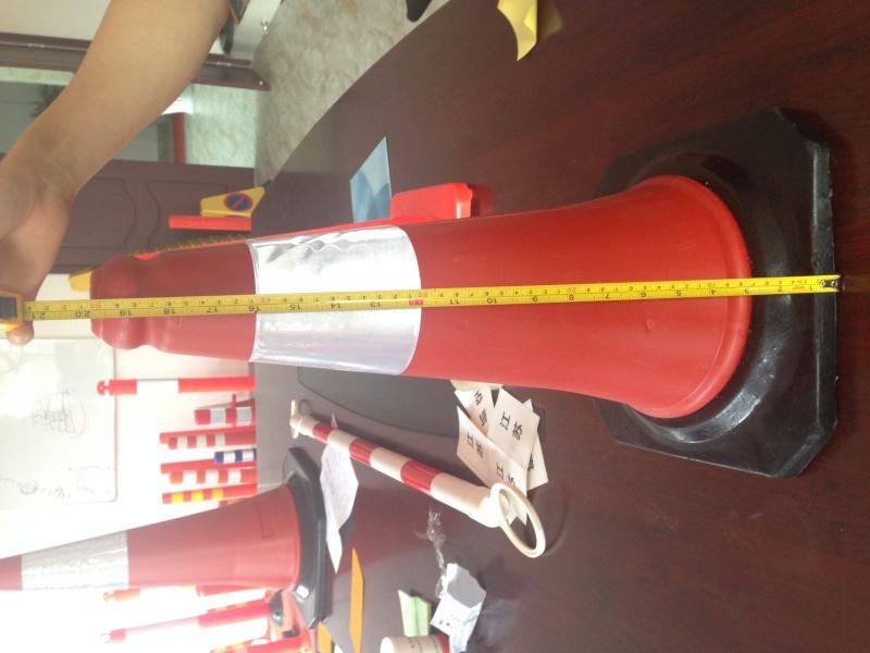 厂家直销50cm橡胶底座塑料路障 PE路锥