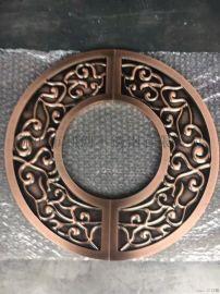 铝铜雕刻拉手定制厂家 圆形龙凤雕刻拉手定制
