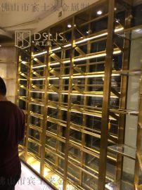 別墅不鏽鋼紅酒架 酒莊餐廳展示架 不鏽鋼酒架定制
