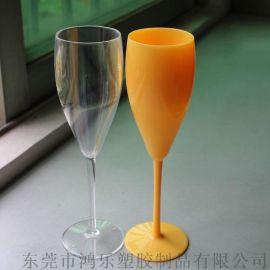 新款AS高脚塑料酒杯250ml透明塑料香槟杯礼品杯