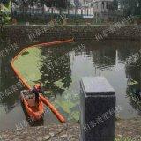 水上河道垃圾攔污攔網 塑料桶攔截 示