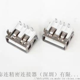 USB 2.0 AF 90度DIP母座 4P 短体10.0 两脚鱼叉 大电流 直边 白胶