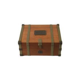 复古风格青古铜金属装饰珠宝带锁木制储藏箱收纳盒