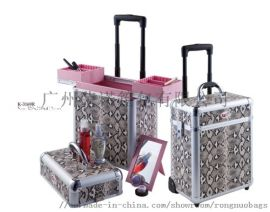 铝合金箱定制,升级版多层大容量拉杆化妆箱